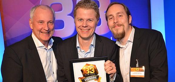 jan Snygg, Fredric Lindström och Christian Schüldt firar att Limes Audio på 33-listan.