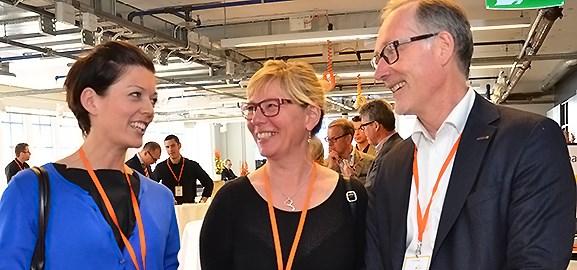 Veronica Augustsson, Mariea Hedblom och Ulf Ejelöv på Tillväxtdagar i Umeå.