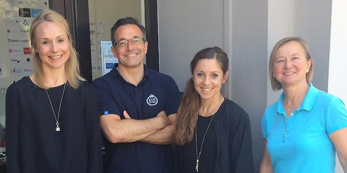 Sandra Finér, vd för Limes Audio, har tecknat avtal om kontor för företaget i Silicon Valley, Kalifornien. På bilden tillsammans med Donnie Lygonis, affärsutvecklingscoach, KTH Innovation, Maria Olofsson, affärscoach Uminova Innovation, och Anne Lidgard, Nordic Innovation House.