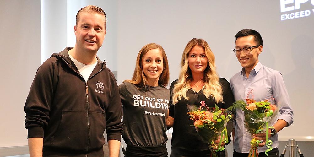 Erfarna entreprenörerna Fredrik Wester, Ida Backlund och Tom Xiong gav inspiration på Young Startup Day. På bilden tillsammans med moderator Maria Olofsson.