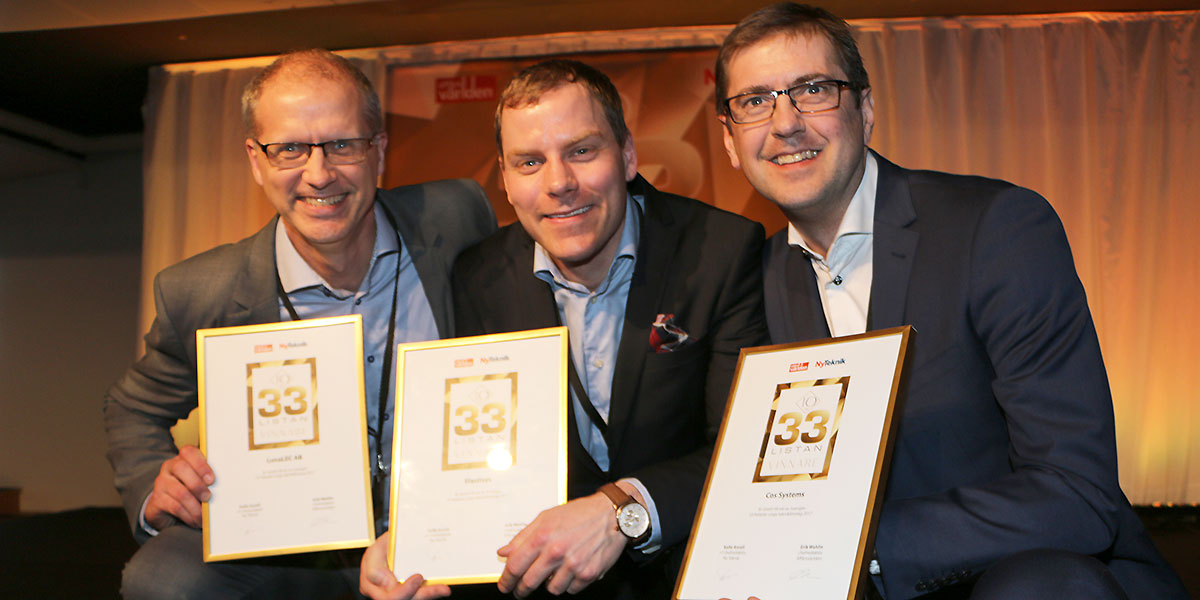 Från vänster Patric Stafshede, LunaLEC, Robert Winter, Elastisys, och Peter Lidström, COS Systems.