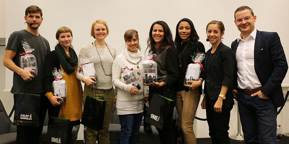 Alla medverkande under Young Startup Day 2015. Från vänster Jens Lundqvist, Emma Möller, Johanna Engström, Jenny Berg, Rivia Oliveira, Christina Rickardsson, Maria Olofsson och Gustav Paringer.