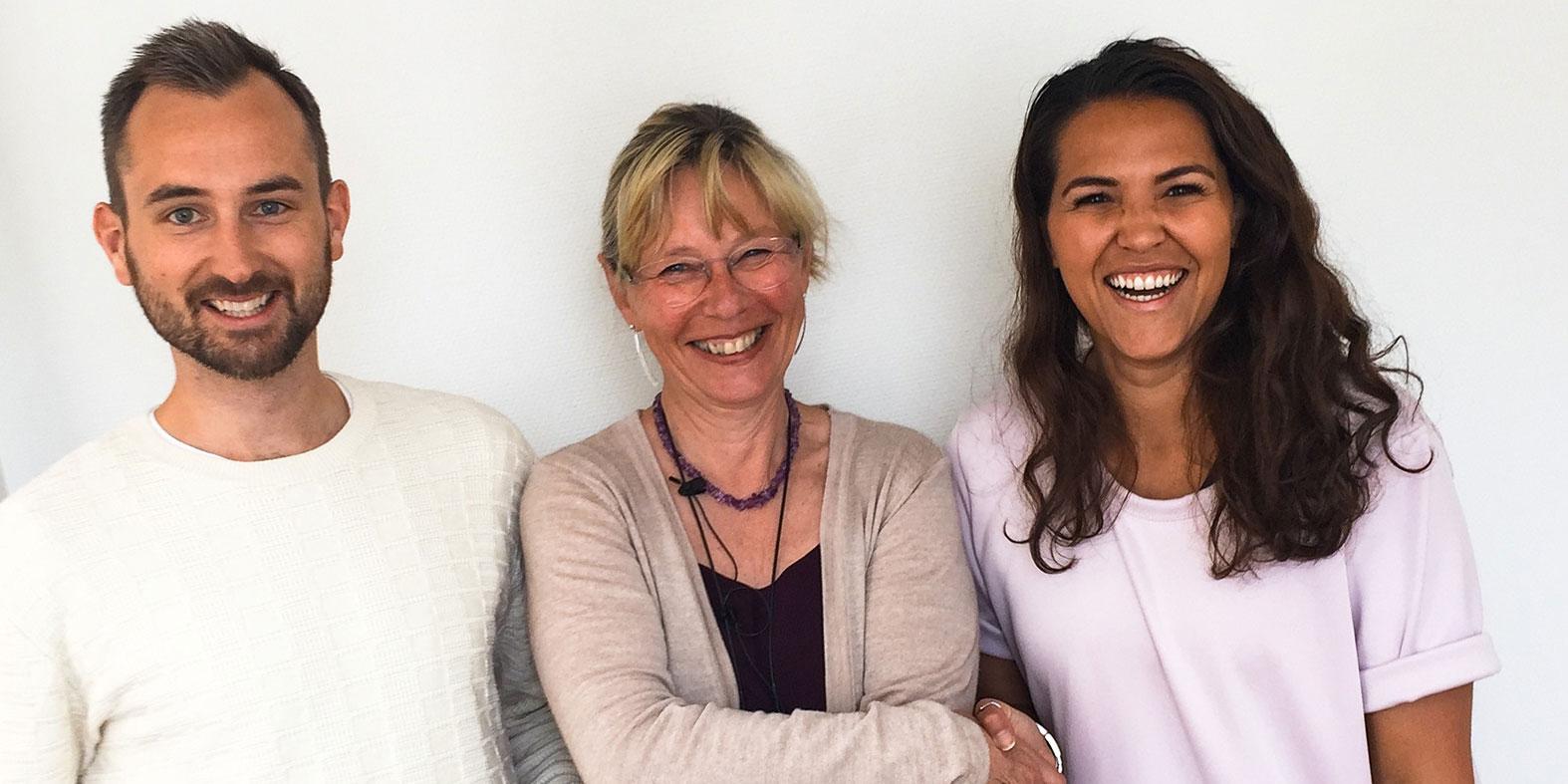 Oskar Riby, Maria Hedblom och Rivia Oliveira.