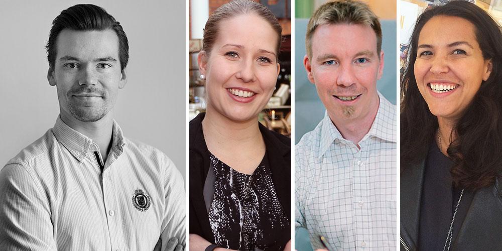 Isak Björnström, till höger i bild, intervjuar entreprenörer som bygger företag. Tre av de som är med i podden Entreprenörsresan är Meiju Vartiainen, Joachim Ljungquist och Rivia Oliveira.