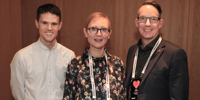 Framtiden tillhör hela landet, var budskapet under Internetdagarna med Hello Future. Från vänster Petter Hanberger, digital strateg Hello Future, Gunilla Nordlöf, generaldirektör Tillväxtverket, och Magnus Rudehäll, digital strateg Region Västerbotten.