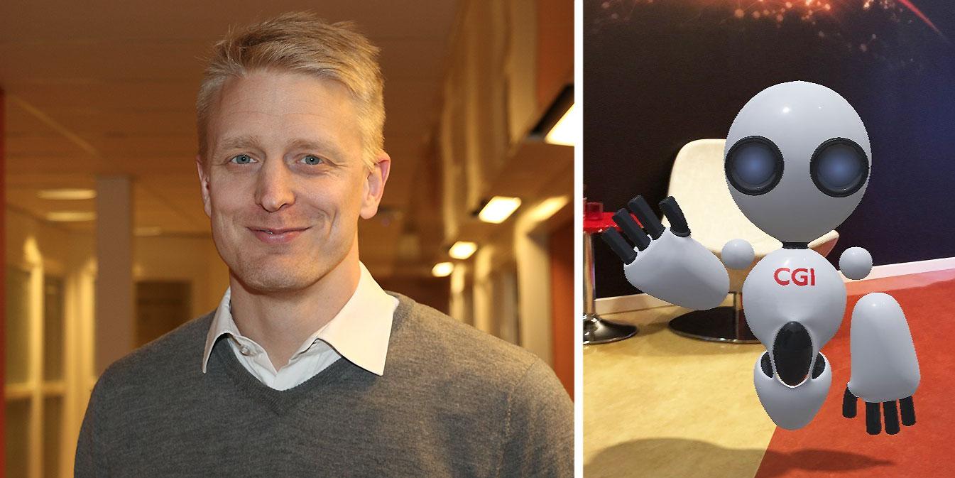 Anders Markstedt, kundansvarig på CGI Umeå, tillsammans med kontorets egen avatar P.E.R.