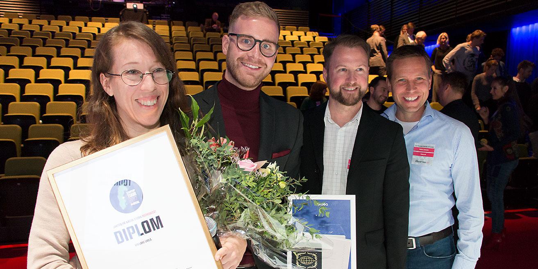 Bakom Smart Video finns Johanna Björklund, Johannes Eriksson, Rickard Lönneborg och Niklas Jansson. Bilden från när företaget vann regionfinalen i Di Digital Startup Tour 2017.