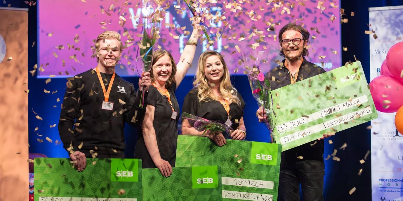Nu laddar de fyra startup-bolagen från norra Sverige som gått till final i Venture Cup 2018. 12 september avgörs vilka som vinner. Bilden från regionfinalen i norra Sverige som avgjordes våren 2018.