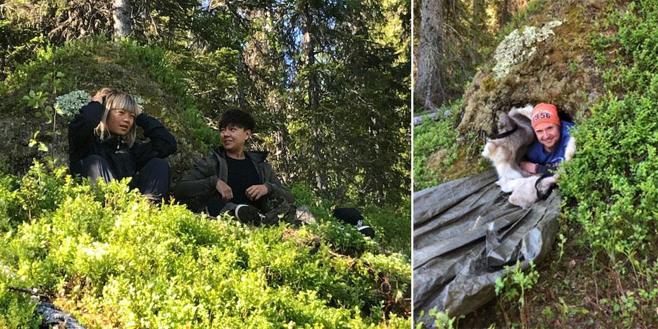 Tysk tv visar när Umeåborna Elizabeth Sandlund och Ann-Charlotte Dahlvid övernattar i björnidet. Till höger syns även Christer Nederstedt, vd för Hello Nature, titta ut ur björnidets öppning.
