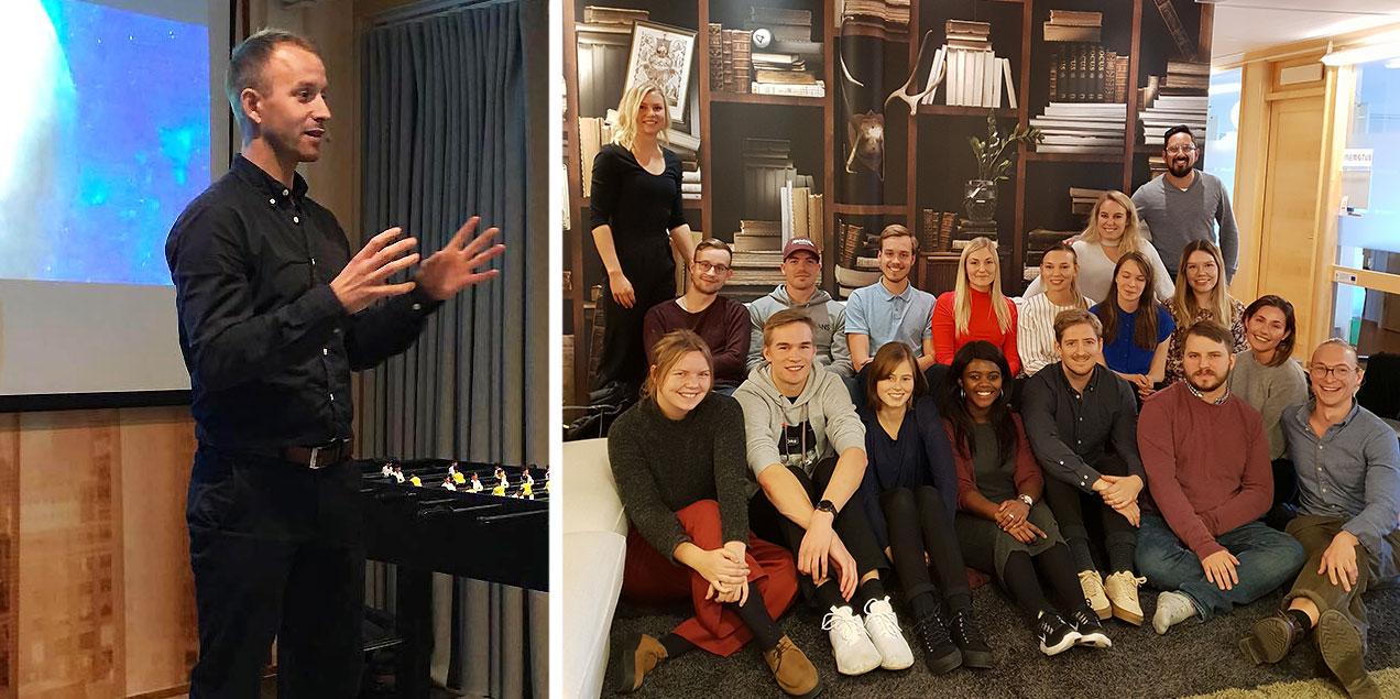 Årets sommarentreprenörer samlade för avslutning. Martin Wiklund, Sportswik, delade med sig av goda råd och erfarenheter inför den entreprenörsresa många nu står inför.