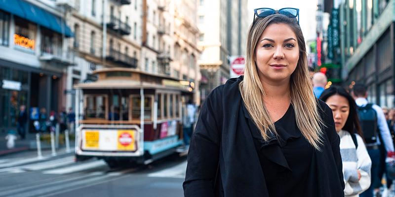 Lisa Lindvall, vd för The Fit, menar att resan gav mycket inspiration. Här på en gata i San Fransisco.