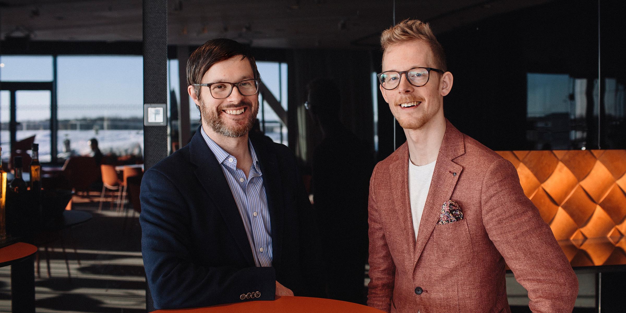 Andreas Vidman, vd för Prediktera, och Johan Granström, projektledare vid ABB:s kontor i Umeå, ser mycket positivt på Match Up-dagen och möjligheten för stora bolag och investerare att möta startupföretag.