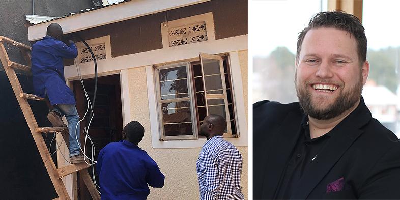 Harry van der Veen, vd Nuiteq, är mycket glad över att kunna hjälpa en skola i Uganda. På bilden installeras ny el i skolan.