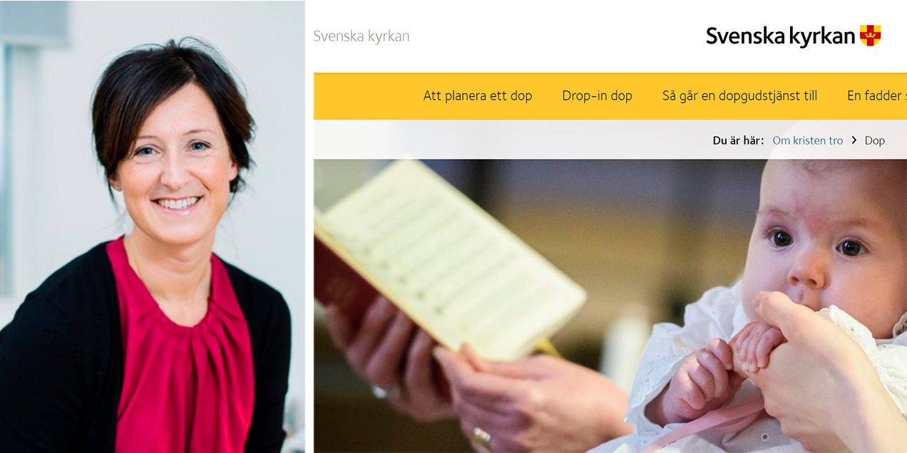 Teknikhuset står för tekniken bakom Svenska kyrkans prisade webb. I bildmontaget: Susanne Österström Dahlqvist, vd Teknikhuset, och en av sidorna på Svenska kyrkans webb.