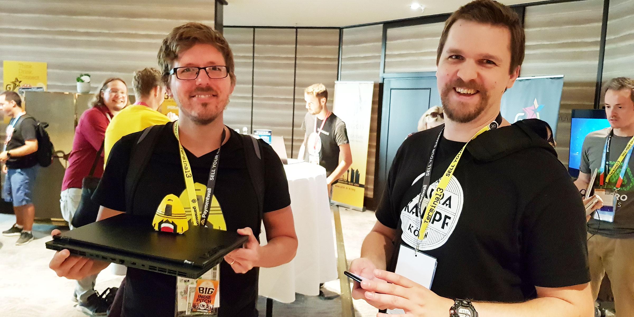 Per Fransson och Oskar Wahlström är mycket nöjda med sitt deltagande på Gamescom.