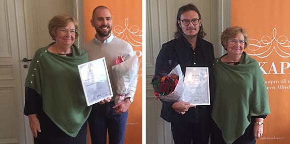 Vinnare av 2019 års Skapa-pris är Actsport med Henrik Andersson och Mikael Nilsson (ej på bild), samt Insight Education med Joakim Blomqvist.