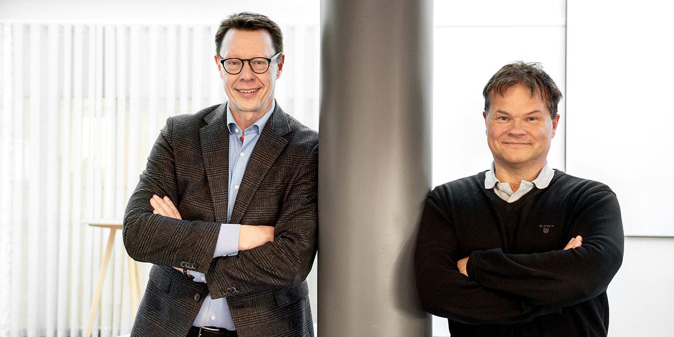 Sture Bergman, vd VK Media, och Jörgen Anderhed, vd Fiber8, ser fram mot gemensamma satsningen på nyheter och bredband.