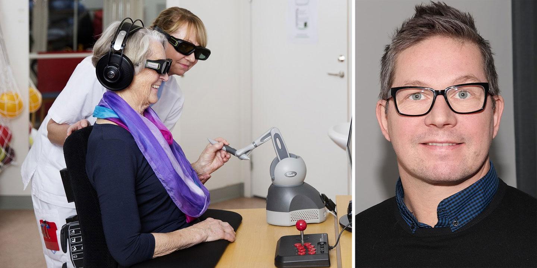 Brain Stimulation kombinerar neurovetenskap med 3D, virtual reality och robotik till en helt ny behandlingsmetod för strokepatienter. Till höger, Fredrik Jonsson, ny vd för Brain Stimulation.
