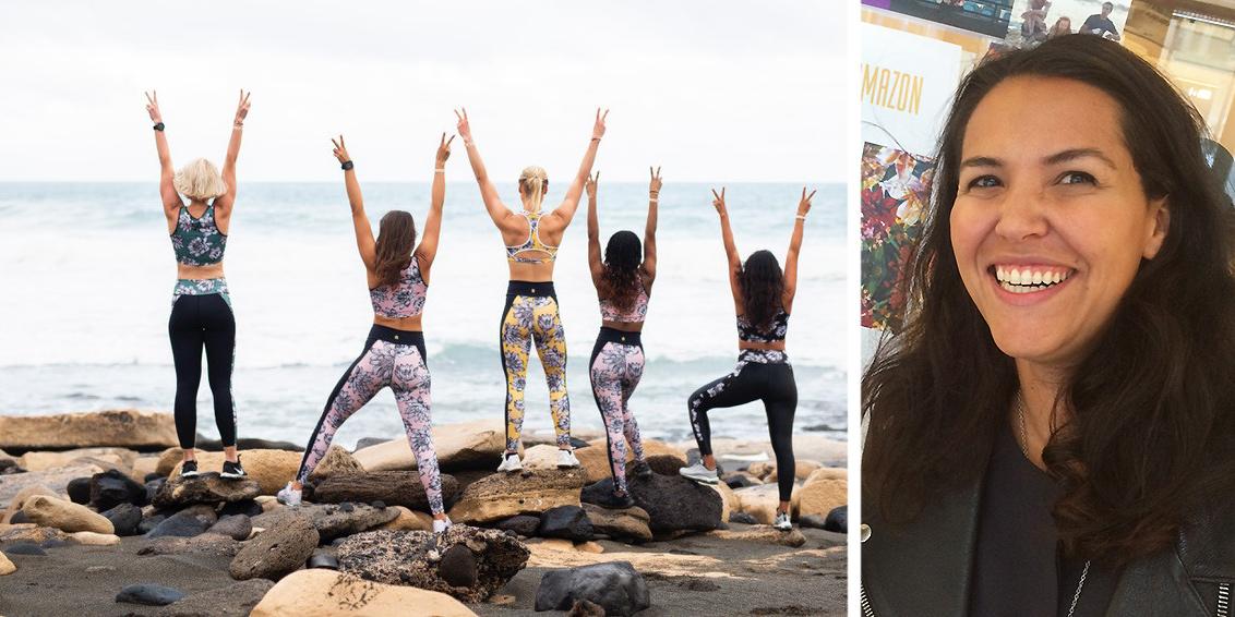 """Rivia Oliveira, grundare av Rivia Sports, går vidare och väljer att lägga ner webbshoppen för sportplagg efter """"fem magiska år"""". Bilden till vänster visar en del av den klädkollektion Rivia Sports blev känt för."""