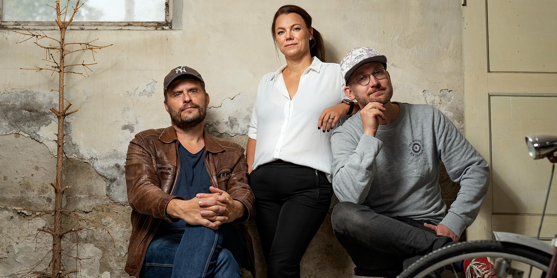 Jan Axelsson, Red Carpet Media, till vänster på bilden, tillsammans med medarbetarna Jennie Tinderfjäll och Arvid Sundqvist.